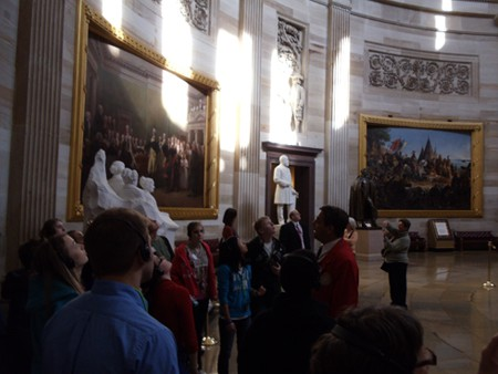 Inspecting the Dome from the US Capitol Rotunda floor